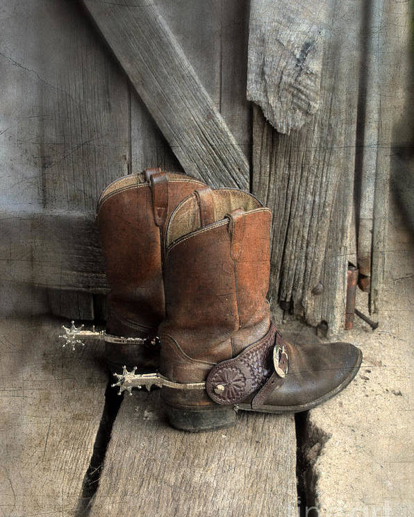 Cowboy Boots With Spurs Poster