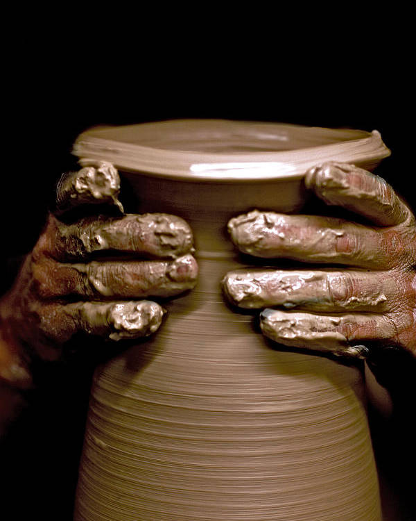 Potter Poster featuring the photograph Creation At The Potter's Wheel by Rob Travis