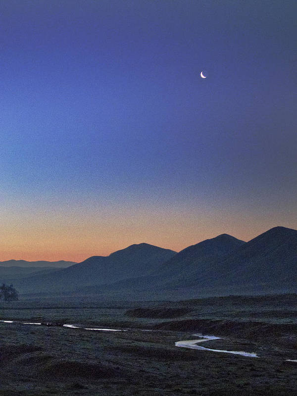 Crescent Poster featuring the photograph Crescent Moon And Yokohl Creek by Wayne Powell