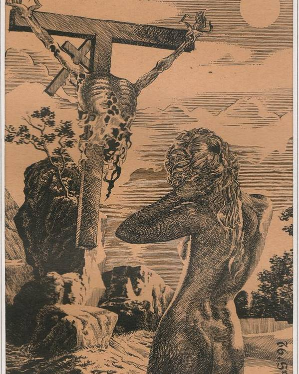 King Of Darkness Poster featuring the painting Crucifixion by Sirenko