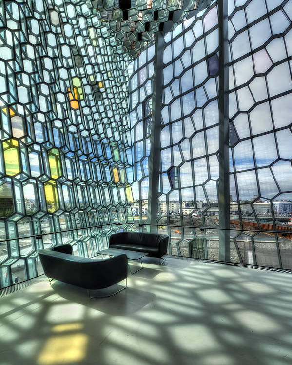 Harpa Poster featuring the photograph Crystal Fantasy by Evelina Kremsdorf