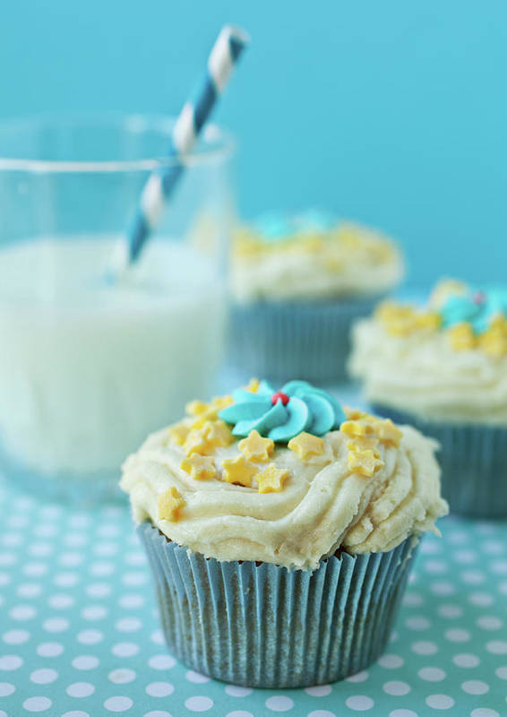 Vertical Poster featuring the photograph Cup Cake With Stars Topping by Uccia_photography