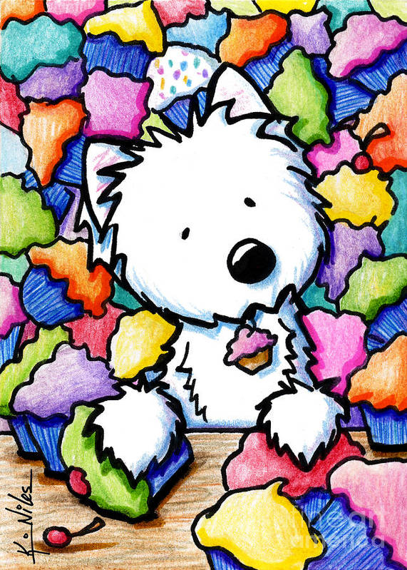 Westie Poster featuring the drawing Cupcake Westie by Kim Niles