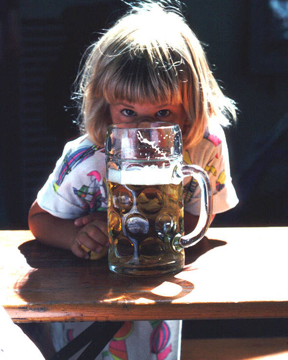 Cute Poster featuring the photograph Cute Little Girl At Beer Garden Munich by Tom Wurl