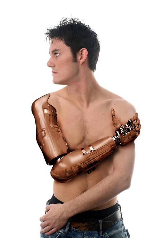 Human Poster featuring the photograph Cybernetic Arm, Composite Image by Victor Habbick Visions