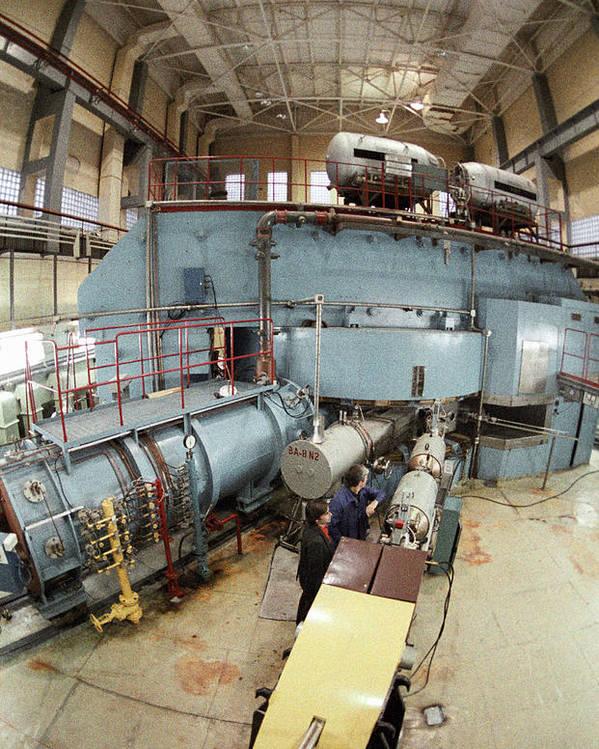 U-400 Poster featuring the photograph Cyclotron Particle Accelerator by Ria Novosti