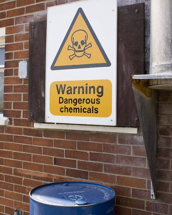 Bin Poster featuring the photograph Dangerous Chemicals Warning Sign. by Mark Williamson