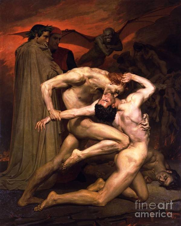 Pd Poster featuring the painting Dante And Virgil In Hell by Pg Reproductions