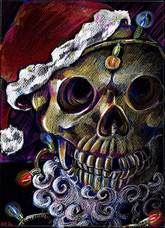 Skull Poster featuring the drawing Dead Christmas by Nada Meeks