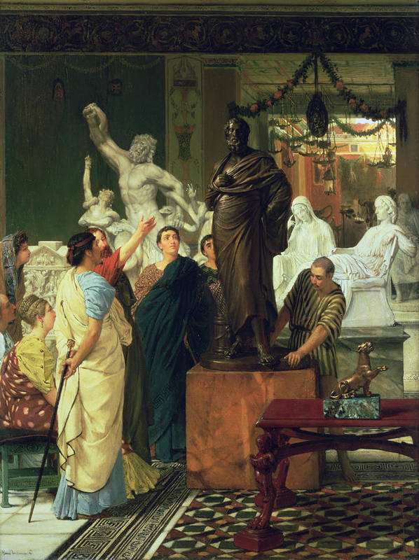 Dealer Poster featuring the painting Dealer In Statues by Sir Lawrence Alma-Tadema