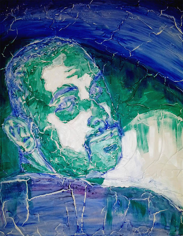Death Metal Poster featuring the painting Death Metal Portrait In Blue And Green With Fu Man Chu Mustache And Cracking Textured Canvas by M Zimmerman
