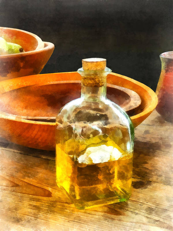 Cook Poster featuring the photograph Decanter Of Oil by Susan Savad
