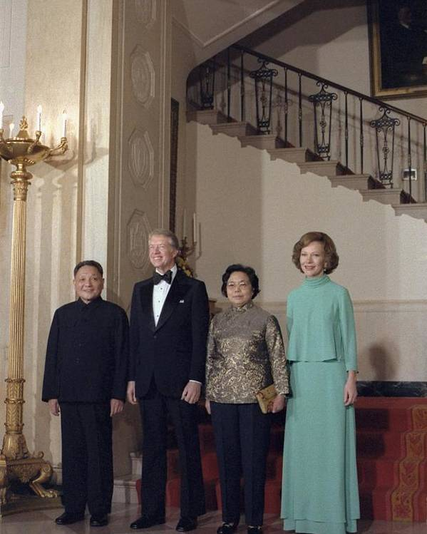 History Poster featuring the photograph Deng Xiaoping Jimmy Carter Madame Zhuo by Everett