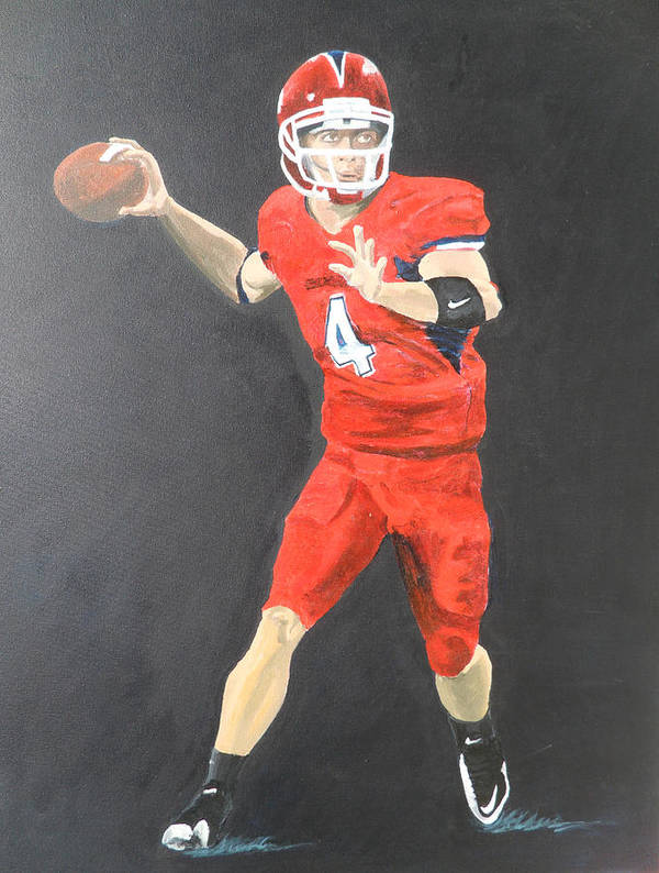 Derek Carr Poster featuring the painting Derek Carr by Travis Day