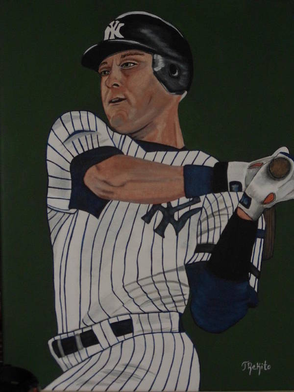 Yankees Poster featuring the painting Derek Jeter by Tammy Rekito