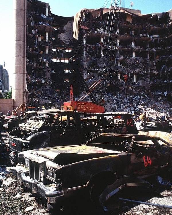 History Poster featuring the photograph Destroyed Automobiles Near The Bombed by Everett