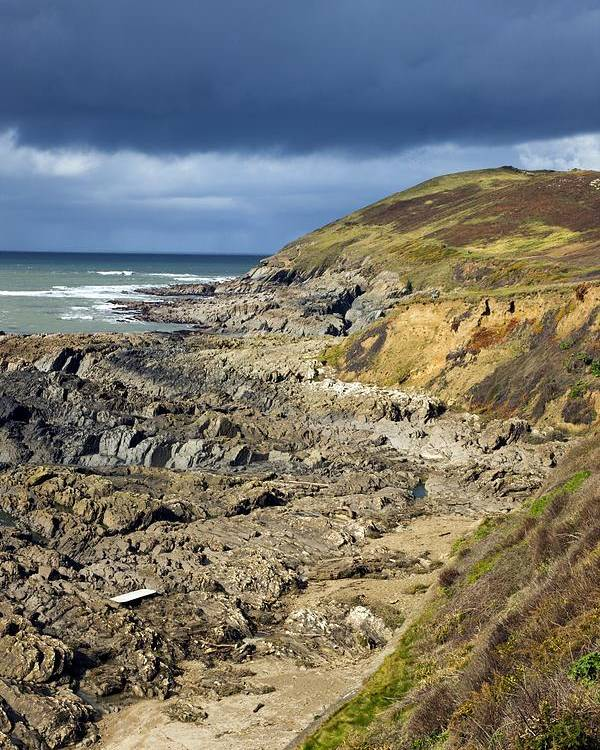 Devonian Slate Poster featuring the photograph Devonian Slate Coastline by Dr Keith Wheeler