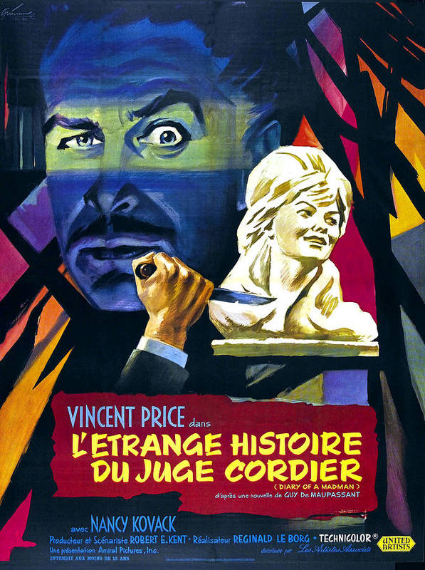 1960s Movies Poster featuring the photograph Diary Of A Madman, Aka Letrange by Everett