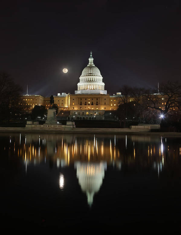 Metro Poster featuring the digital art Digital Liquid - Full Moon At The Us Capitol by Metro DC Photography