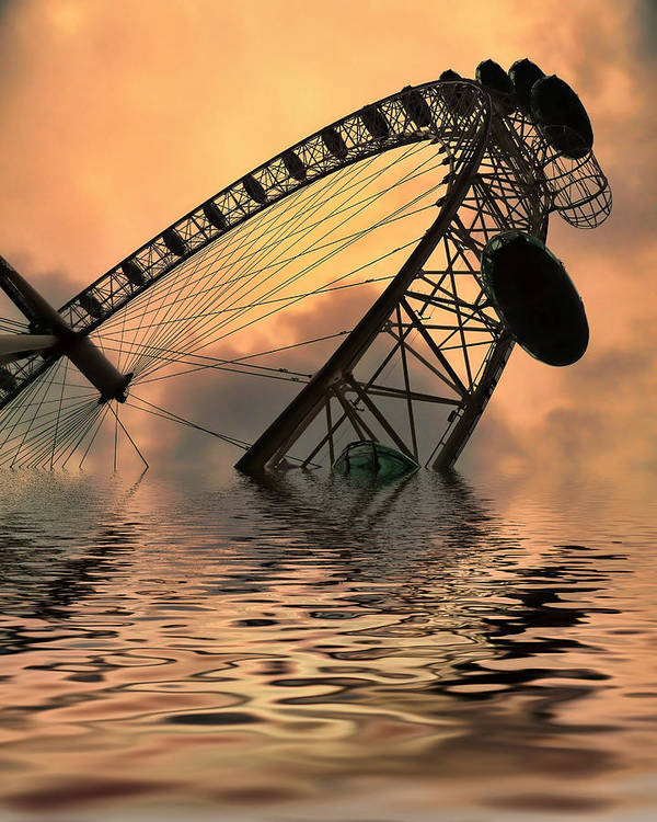 London Eye Poster featuring the photograph Disaster by Sharon Lisa Clarke