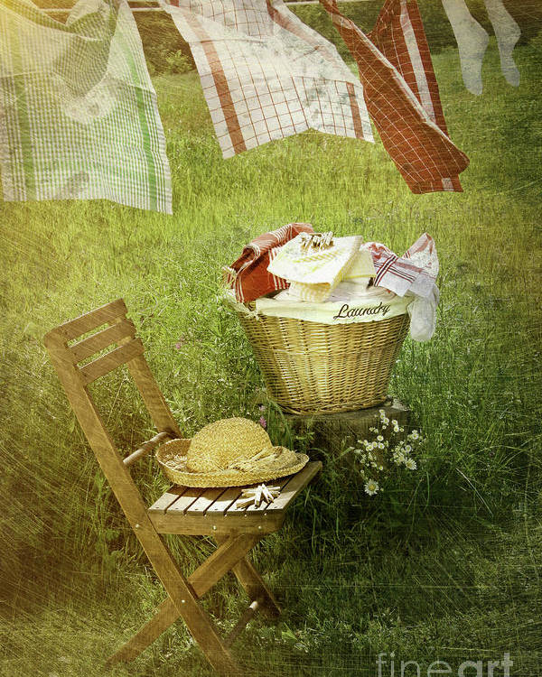Basket Poster featuring the photograph Distressed Photo Of Wash Day by Sandra Cunningham
