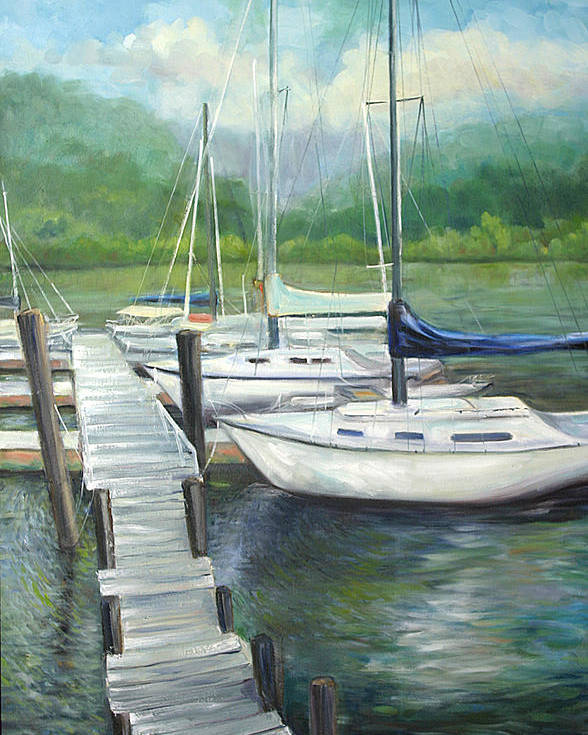 Sail Boats At The Dock In Winter Months. Poster featuring the painting Dock Side by Max Mckenzie