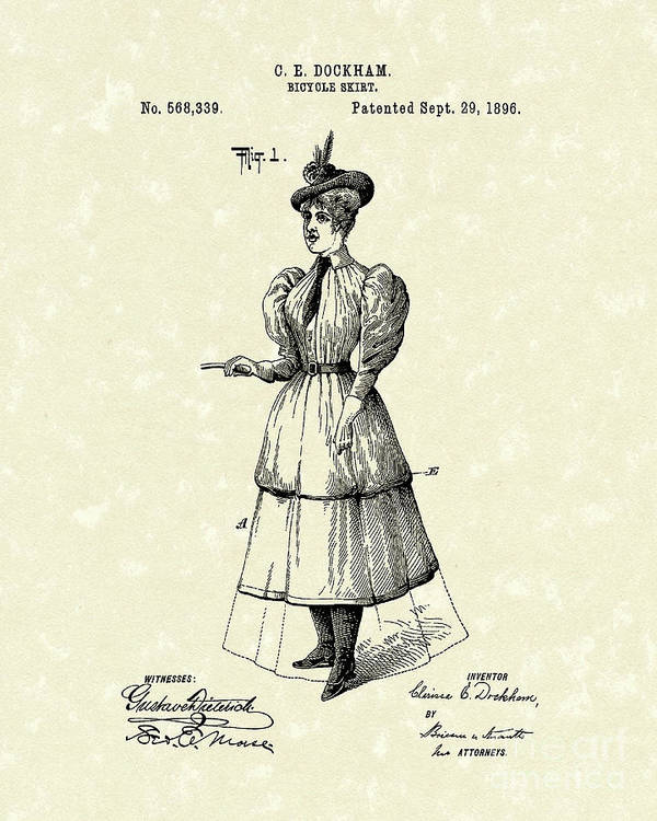 Dockham Poster featuring the drawing Dockham Bicycle Skirt 1896 Patent Art by Prior Art Design