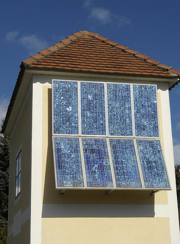 Building Poster featuring the photograph Domestic Solar Panel by Friedrich Saurer