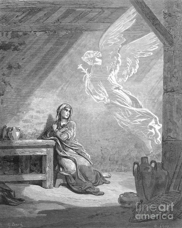 Annunciation Poster featuring the photograph Dor�: The Annunciation by Granger