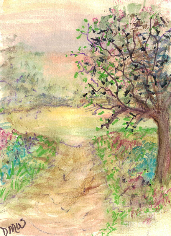 Country Poster featuring the painting Down The Path by Debbie Wassmann
