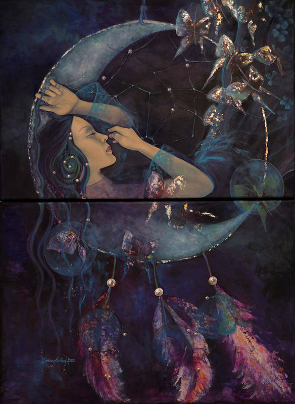 Art Poster featuring the painting Dream Catcher by Dorina Costras