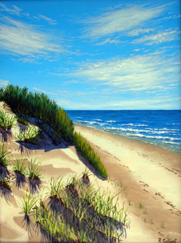 Seascape Poster featuring the painting Dunes At Dalvay by Rick Gallant