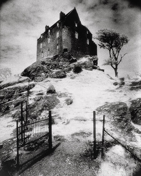 Duntrune; Architecture; Ruin; Ghostly; Eerie; Bleak; Hill; Haunted House Poster featuring the photograph Duntroon Castle by Simon Marsden