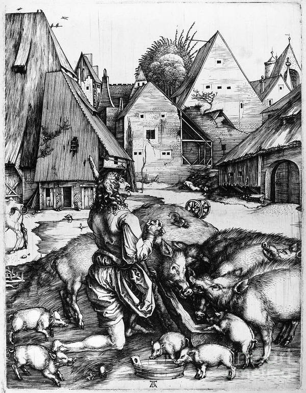 1496 Poster featuring the photograph Durer: Prodigal Son, 1496 by Granger