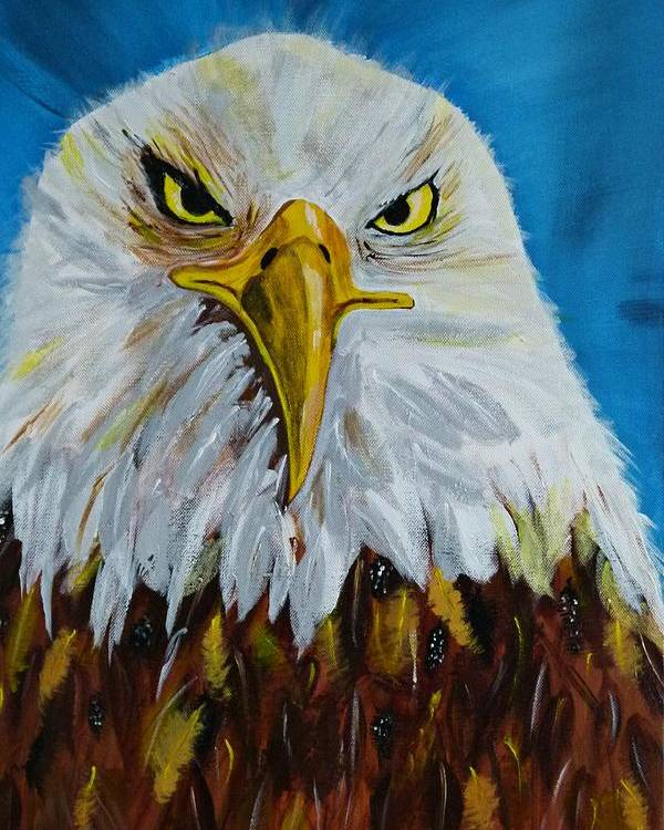 Acrylic On Canvas Poster featuring the painting Eagle by Ismeta Gruenwald