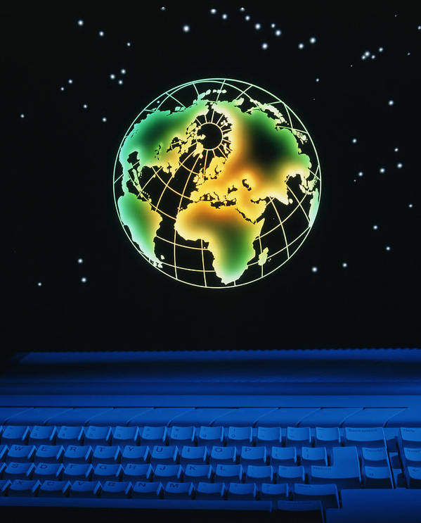 Computer Poster featuring the photograph Earth Over Computer Keyboard by Tony Craddock