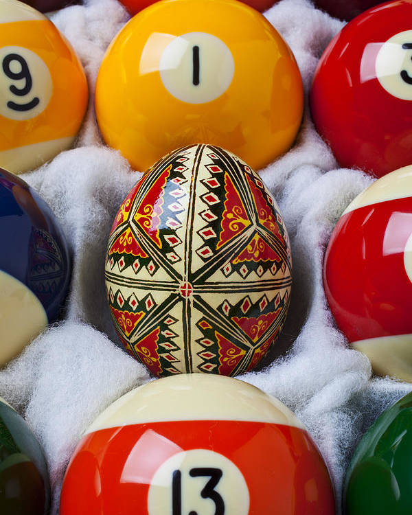 Easter Egg Poster featuring the photograph Easter Egg Among Pool Balls by Garry Gay