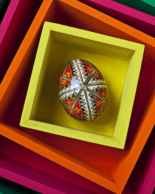 Easter Poster featuring the photograph Easter Egg In Box by Garry Gay