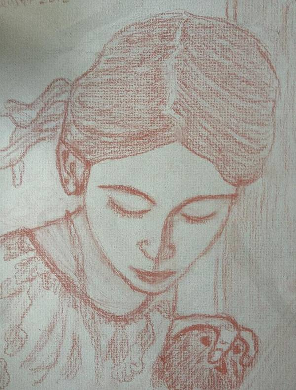 Drawing Poster featuring the drawing Easter Girl by Jennifer Woodworth
