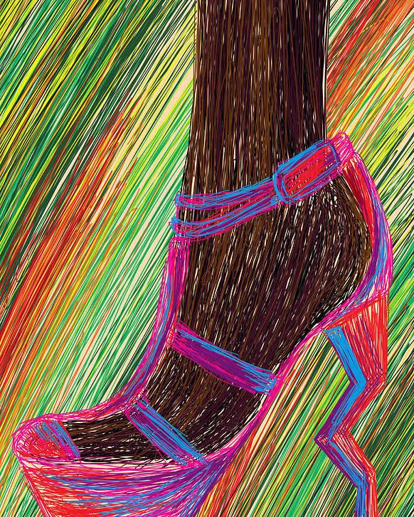 High Heels Poster featuring the digital art Ebony In High Heels by Kenal Louis