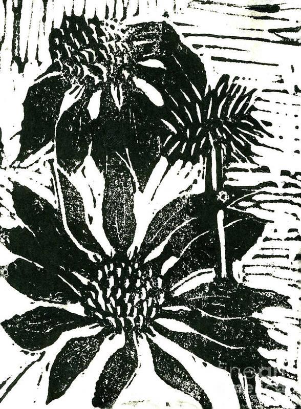 Lino Poster featuring the mixed media Echinacea Block Print by Ellen Miffitt