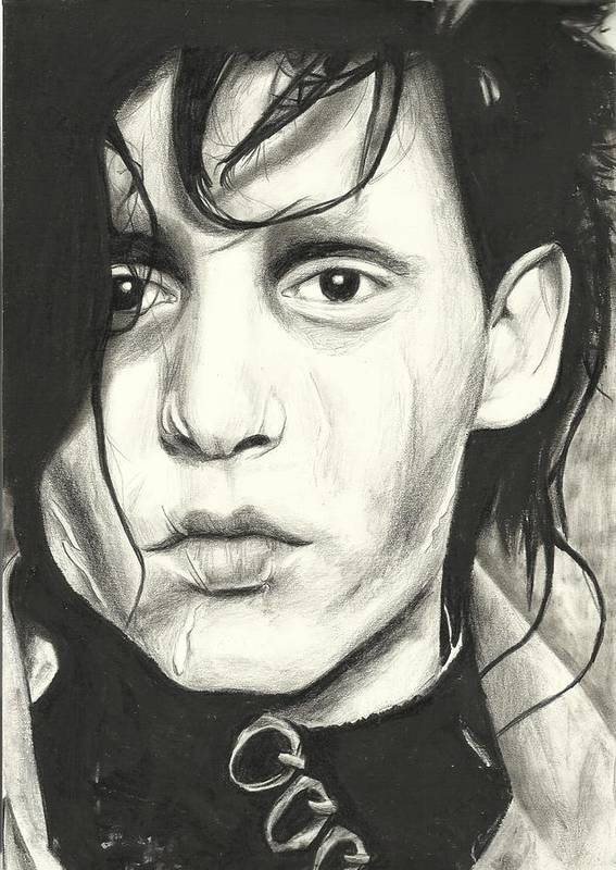 Johnny Depp Poster featuring the drawing Edward Scissorhands by Sarah Stonehouse