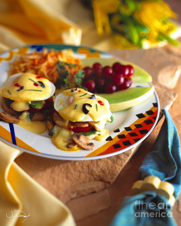Food Poster featuring the photograph Eggs Benedict Breakfast by Vance Fox