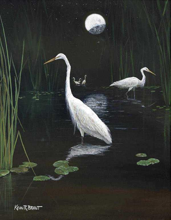 Egret Poster featuring the painting Egrets In The Moonlight by Kevin Brant