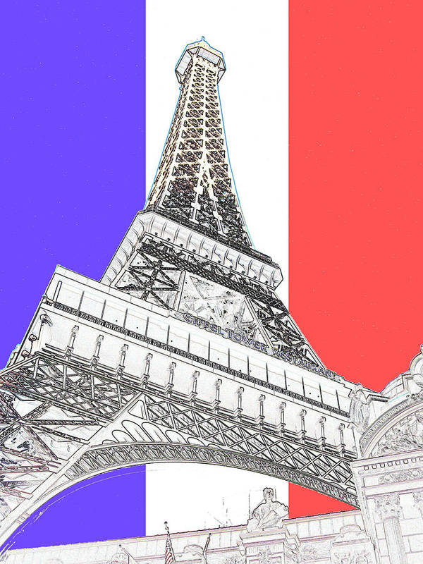 Eiffel Tower Poster featuring the digital art Eiffel De Gaul by Jimi Bush