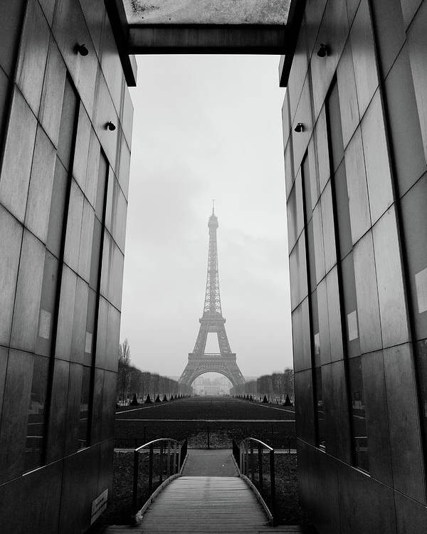 Vertical Poster featuring the photograph Eiffel Tower And Wall For Peace by Cyril Couture @