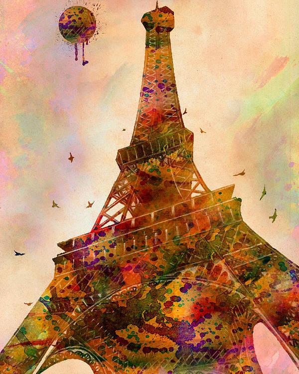 Eiffel Tower Poster featuring the digital art Eiffel Tower by Mark Ashkenazi
