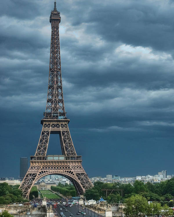 Vertical Poster featuring the photograph Eiffel Tower On A Stromy Weather by Mihaela Muntean