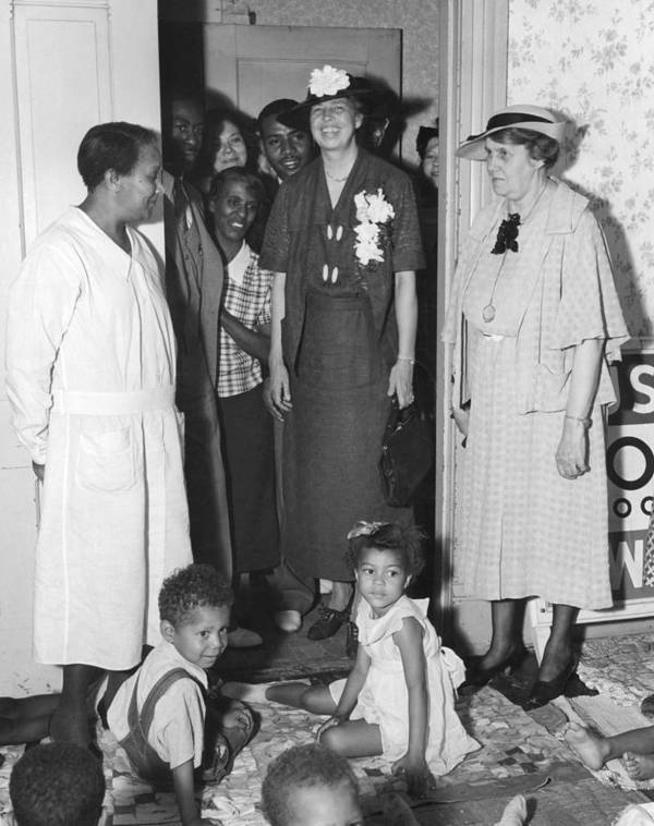 History Poster featuring the photograph Eleanor Roosevelt Visiting A Wpa Works by Everett