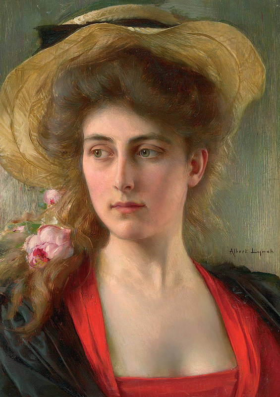Elegante (oil On Panel) Female; Portrait; Straw Hat; Red Dress; Elegant; Melancholy; Melancholic; Edwardian; Beauty; Bust Poster featuring the painting Elegante by Albert Lynch